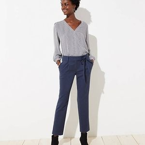 LOFT Petite Slim Tie Waist Pencil Pants in Marisa